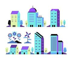 Vector set of Neon City Illustration in simple minimal geometric flat style