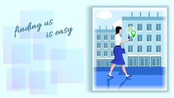 mujer camina por la ruta usando un navegador en su teléfono inteligente vector