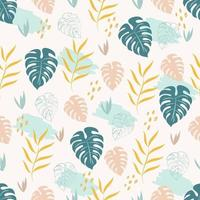 Tropical seamless pattern with green monstera and yellow palm leaves vector