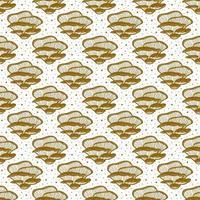 Oyster mushrooms. Seamless pattern, texture, background. Packaging design. Ink vector. Golden monochrome design. Botanic, nature. vector