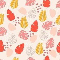 Seamless pattern with pink, yellow, red tropical leaves vector