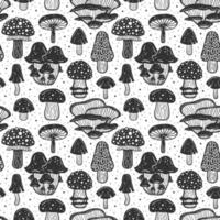 Forest mushrooms Seamless pattern, texture, background vector