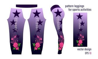 Flower Composition Pattern and Pointed Stars Leggings for Sports Activities vector