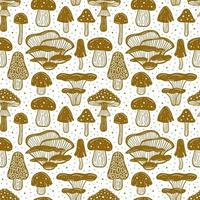 Forest mushrooms Seamless pattern vector