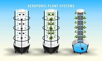 Vertical Aeroponics Plant System Realistic Detailed vector