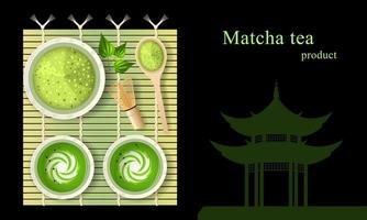 Matcha Green Tea Latte with Milk in Cups on Bamboo Mat vector