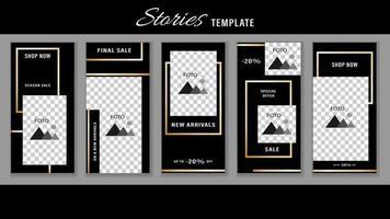 Trendy Stories Gold frame. Template Design Social Media