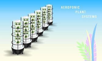 Vertical Aeroponics Plant System Realistic vector