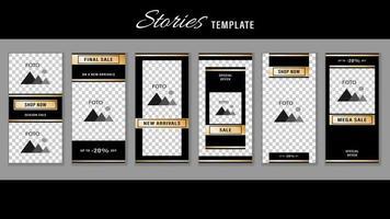 Trendy Stories Gold Frame. Template Design Social Media vector