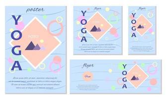 Set of Yoga Flyers with Geometric Shape Design