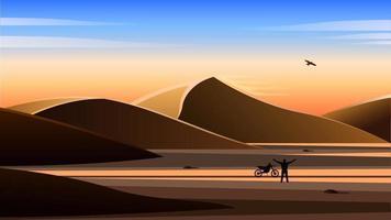 hombre con una motocicleta en el desierto paisaje realista vector