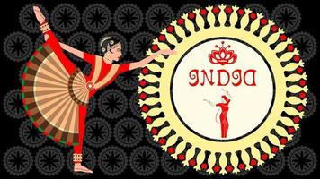 Indian Girl in National Costumes Dance vector