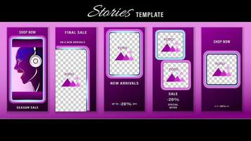 historias editables de moda diseño de plantillas de neón redes sociales vector