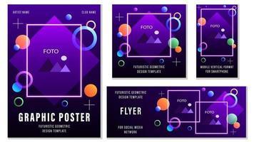 establecer volantes plantillas geométricas futuristas para redes sociales vector