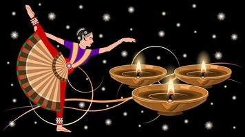 Indian Woman in National Costume Dance and Clay Diya Lamps