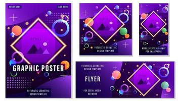 Set Flyers Futuristic Geometric Templates for Social Media
