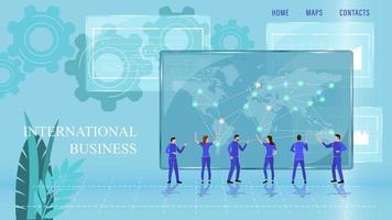 International Business Landing Page Cartoon Flat Style vector