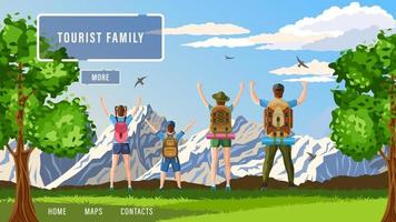 tourist family side view vector