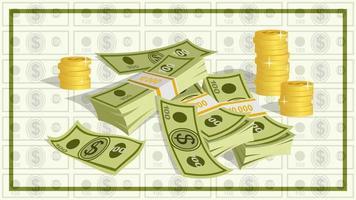 fajos de billetes de 100 dólares y montones de dibujos animados de monedas de oro