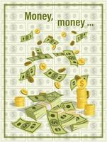 dólares cayendo desde arriba vector