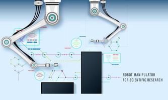 manipulador de robot para investigación científica y producción industrial vector