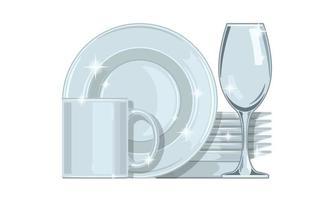 Lavar los platos limpios aislados sobre fondo blanco, dibujos animados planos vector