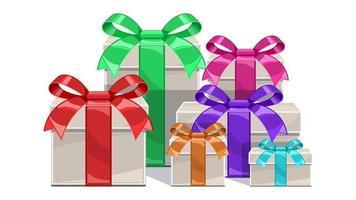 Establecer caja de regalo con cintas de dibujos animados aislados vector