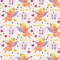 Cupidos divertidos con arco, halo y corazones de patrones sin fisuras vector
