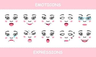 Set Emoticons Faces Expressions Isolated Cartoon Flat vector