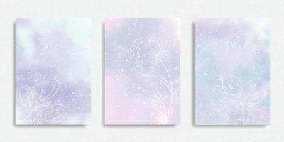 Set of Pastel Colorful Watercolor Background vector