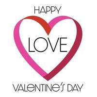 Happy Valentines Day ribbon heart