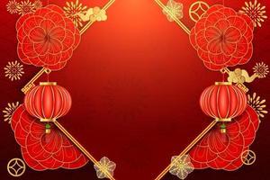Plantilla de diseño chino de caligrafía china hermosa fortuna con patrón de onda como concepto de tarjeta de feliz año nuevo.
