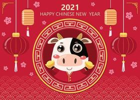 Happy Chinese new year greeting card. 2021 Ox zodiac. Cute cow and gold money. Animal holiday cartoon character. vector