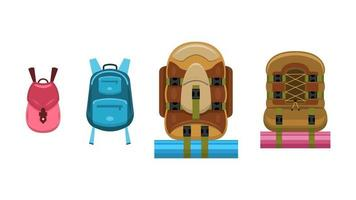 conjunto de mochilas, estilo plano de dibujos animados vector