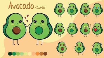 Set of cartoon of avocados vector