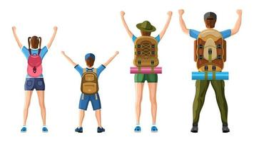 Family of Tourists. Rear View Cartoon Style