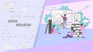 Online education people flat style vector