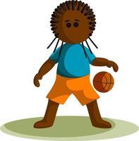 imagen vectorial de un niño de piel oscura con una pelota de baloncesto. estilo de dibujos animados. vector