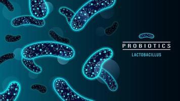 Probiotics Bacteria Low Poly Neon Style vector