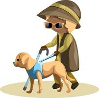 Vector image of a blind grandmother with a guide dog on a leash. Cartoon style.