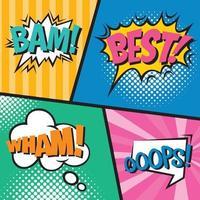 Set of comic speech bubbles in pop art style vector