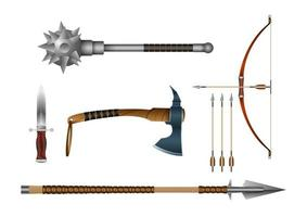 Realistic 3d Set Iron Fighting Cold Weapon vector