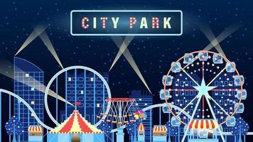 Amusement Park Night City Object Flat Cartoon
