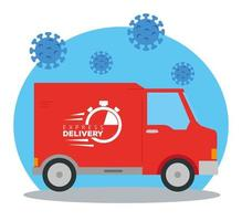 delivery van with particles coronavirus icons vector