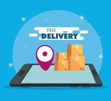 smartphone with app free delivery and packages vector