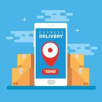 smartphone with app express delivery and boxes vector