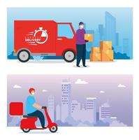 scenes with delivery workers wearing face masks vector