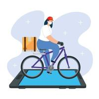 smartphone and delivery worker with face mask in bike vector