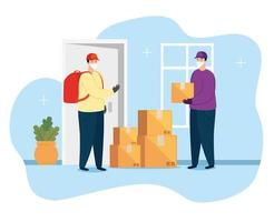 delivery workers with face masks and packages vector