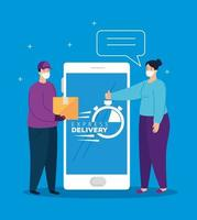 smartphone with app express delivery and people with face masks vector